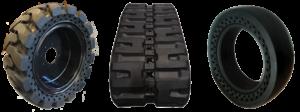 Skid steer rubber tracks vs. solid skid steer tires