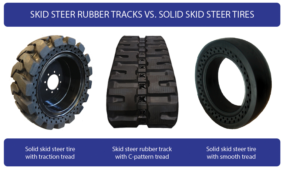 Skid steer rubber tracks vs. solid skid steer tires