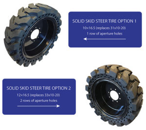 Solid skid steer tire size comparison